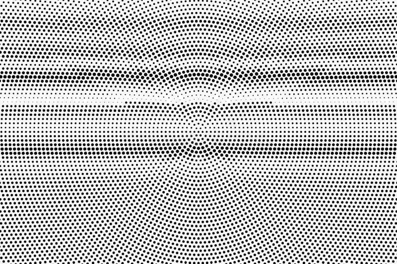 Zwarte op witte gecentreerde halftone textuur Gestippelde vectorachtergrond Horizontale dotworkgradiënt vector illustratie