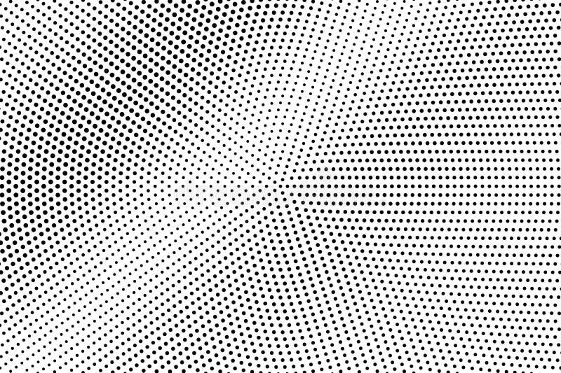 Zwarte op witte gecentreerde halftone textuur Micro- dotwork gradiënt Gestippelde vectorachtergrond Zwart-wit halftone bekleding royalty-vrije illustratie