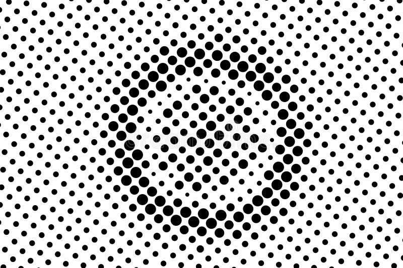 Zwarte op witte gecentreerde halftone textuur Overmaats gestippeld ornament Contrast dotwork patroon stock fotografie