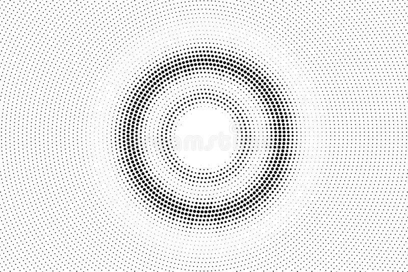 Zwarte op witte langzaam verdwenen halftone textuur Ronde dotworkgradiënt Gecentreerde vectorachtergrond Zwart-wit halftone bekle vector illustratie