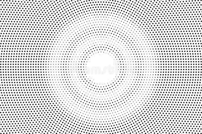 Zwarte op witte langzaam verdwenen halftone textuur Ronde dotworkgradiënt Ronde vectorachtergrond stock illustratie