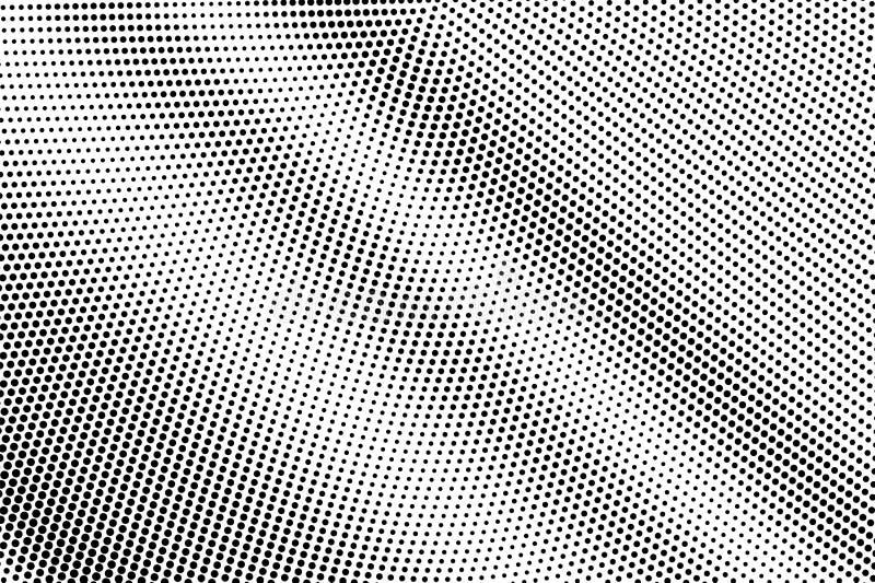 Zwarte op witte micro- halftone textuur Diagonale dotworkgradiënt Gestippelde vectorachtergrond Zwart-wit halftone bekleding royalty-vrije illustratie