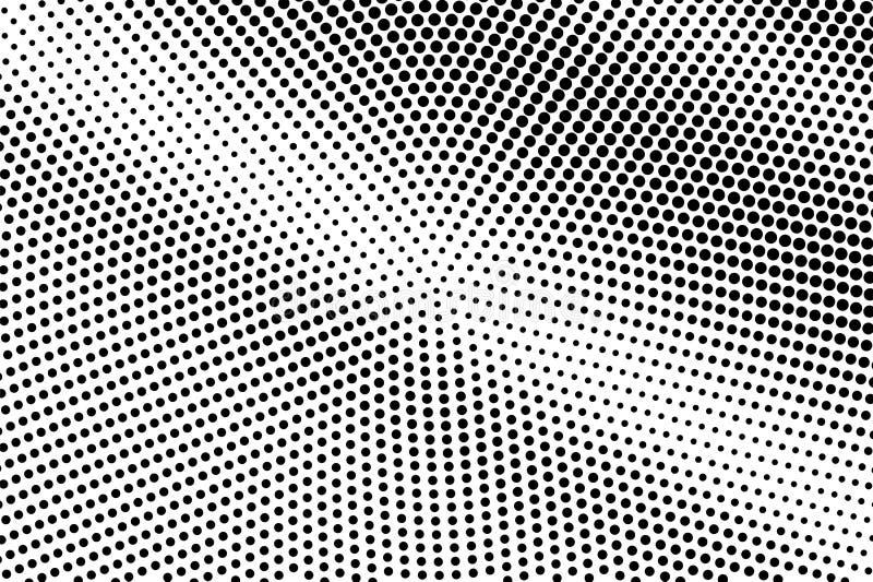 Zwarte op witte overmaatse halftone textuur Gestippelde vectorachtergrond Diagonale dotworkgradiënt vector illustratie