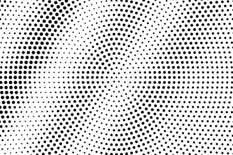 Zwarte op witte ronde halftone textuur Gestippelde vectorachtergrond Diagonale dotworkgradiënt Zwart-wit halftone bekleding royalty-vrije illustratie
