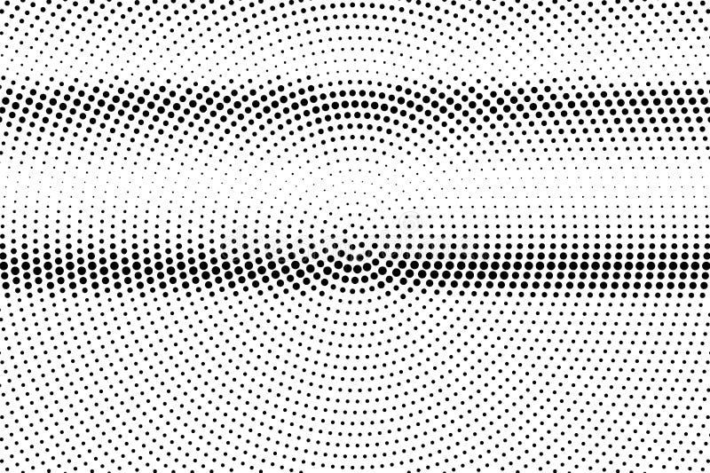 Zwarte op witte ruwe halftone textuur Gestippelde vectorachtergrond Horizontale dotworkgradiënt royalty-vrije illustratie
