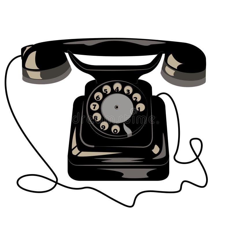 Zwarte oude retro telefoon met wijzerplaatschijf en draad stock illustratie
