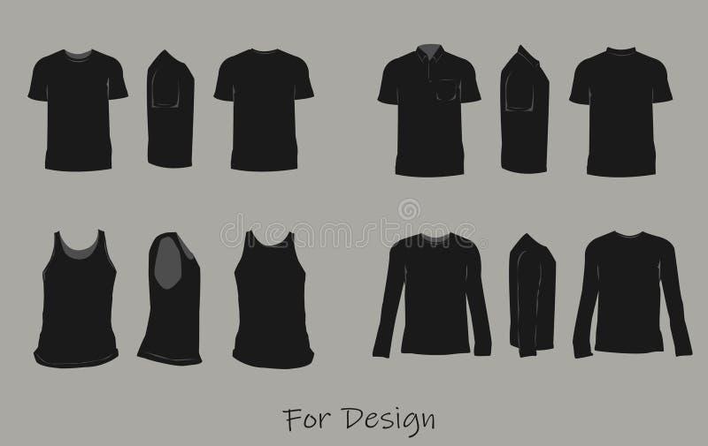 Zwarte overhemden voor ontwerpsjablonenvoorzijde, rug, en zijaanzichtenvector vector illustratie