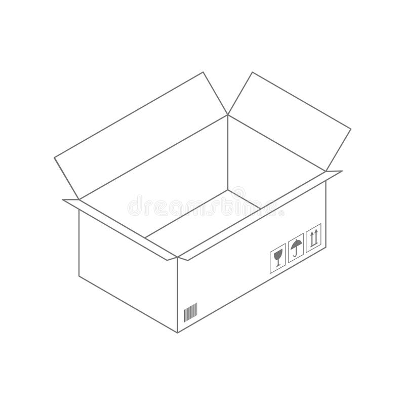 Zwarte overzichtsdoos op witte achtergrond Lege geopend kartondoos die op witte achtergrond wordt geïsoleerd stock illustratie