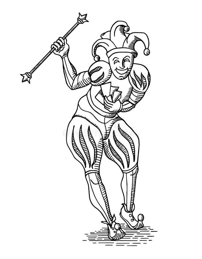 Zwarte overzichtsjoker met personeel in oude gravurestijl op wit royalty-vrije illustratie