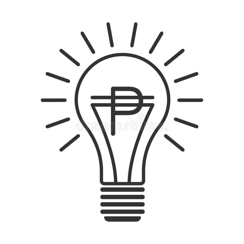 Zwarte overzichtsvector lightbulb met peso stock illustratie