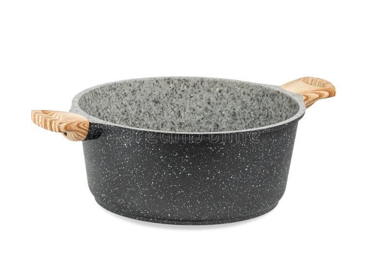 Zwarte pan met twee handvatten op wit royalty-vrije stock fotografie