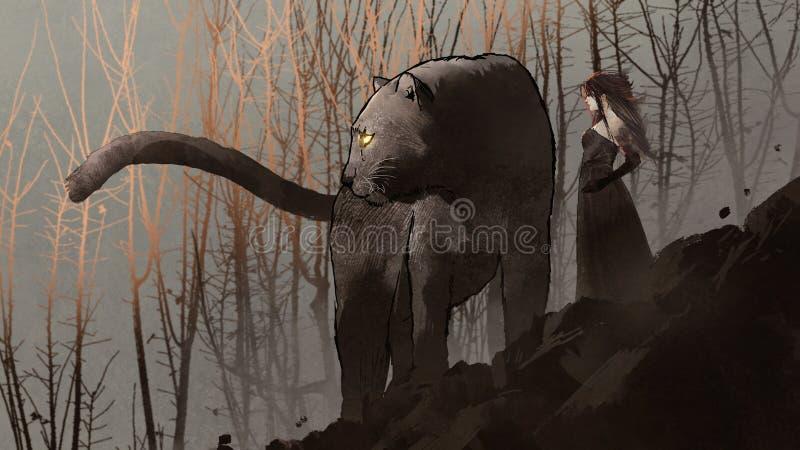 Zwarte panter en de donkere koningin stock illustratie