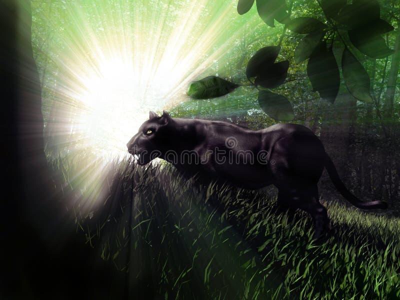 Zwarte Panter in het bos stock illustratie