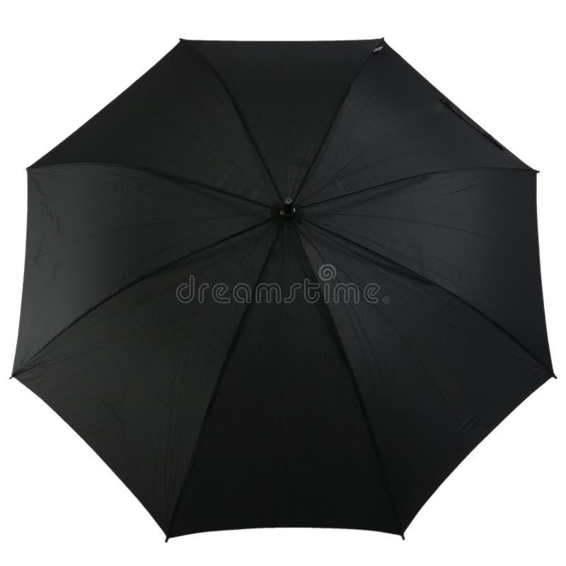 Zwarte paraplu die op witte achtergrond wordt geïsoleerd stock afbeeldingen
