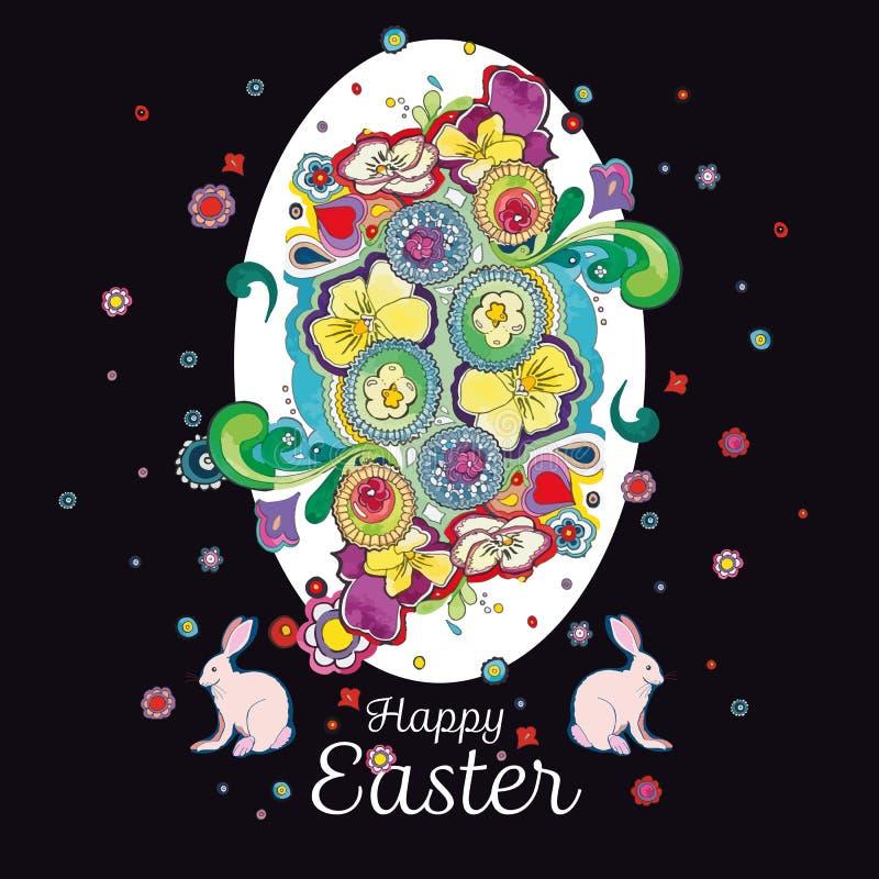 Zwarte Pasen-groetkaart met bloemendecoratie stock illustratie