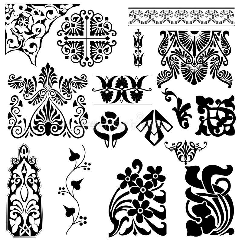 Zwarte patroonreeks royalty-vrije illustratie