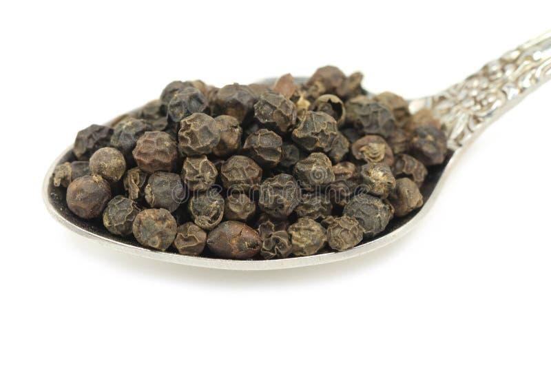 Zwarte peperzaden in metaallepel royalty-vrije stock foto