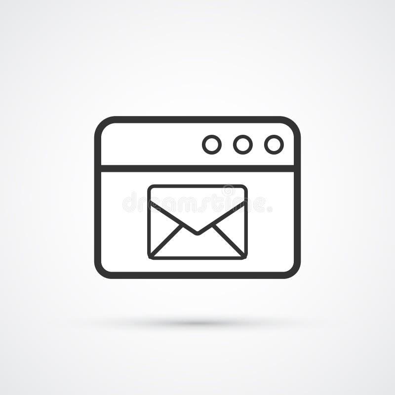 In zwarte pictogram van de e-maildienst het vlakke lijn Vector eps10 royalty-vrije illustratie