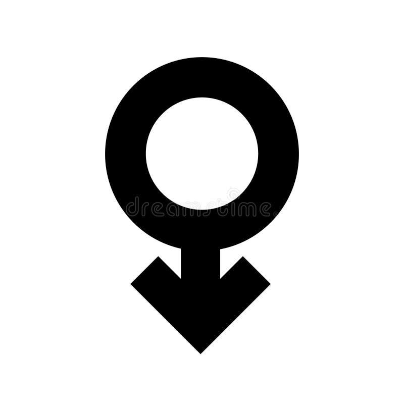 Zwarte pictogram van het teken het mannelijke geslacht Een symbool seksuele toetreding Vlakke stijl voor grafisch ontwerp, emblee royalty-vrije illustratie
