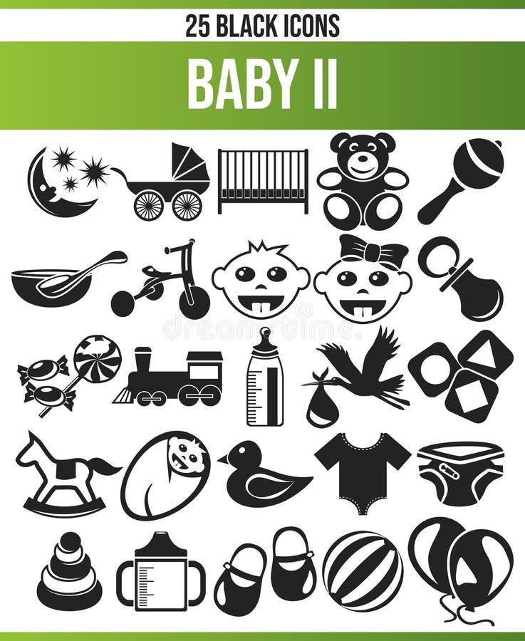 Zwarte Pictogram Vastgestelde Baby II vector illustratie