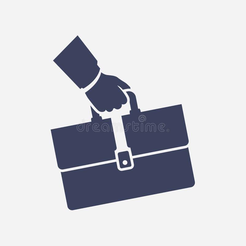 Zwarte pictogramaktentas ter beschikking Bedrijfsbeeldverhaalteken stock illustratie