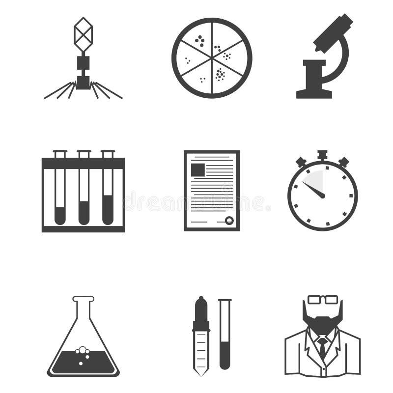 Zwarte pictogrammen voor de microbiologie stock illustratie