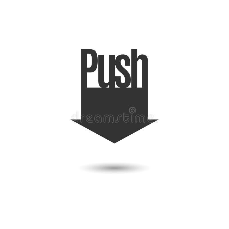 Zwarte pijl met de tekstduw Teken, symbool, pictogram in de vorm van een benedenwaartse pijl Voor druk bij de verpakking, vakje,  royalty-vrije illustratie