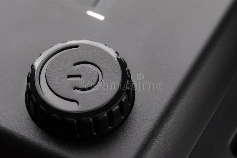 Zwarte plastic macht van knoop met machtsaanpassing royalty-vrije stock fotografie
