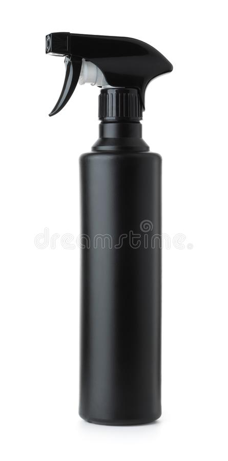 Zwarte plastic nevelfles stock foto's