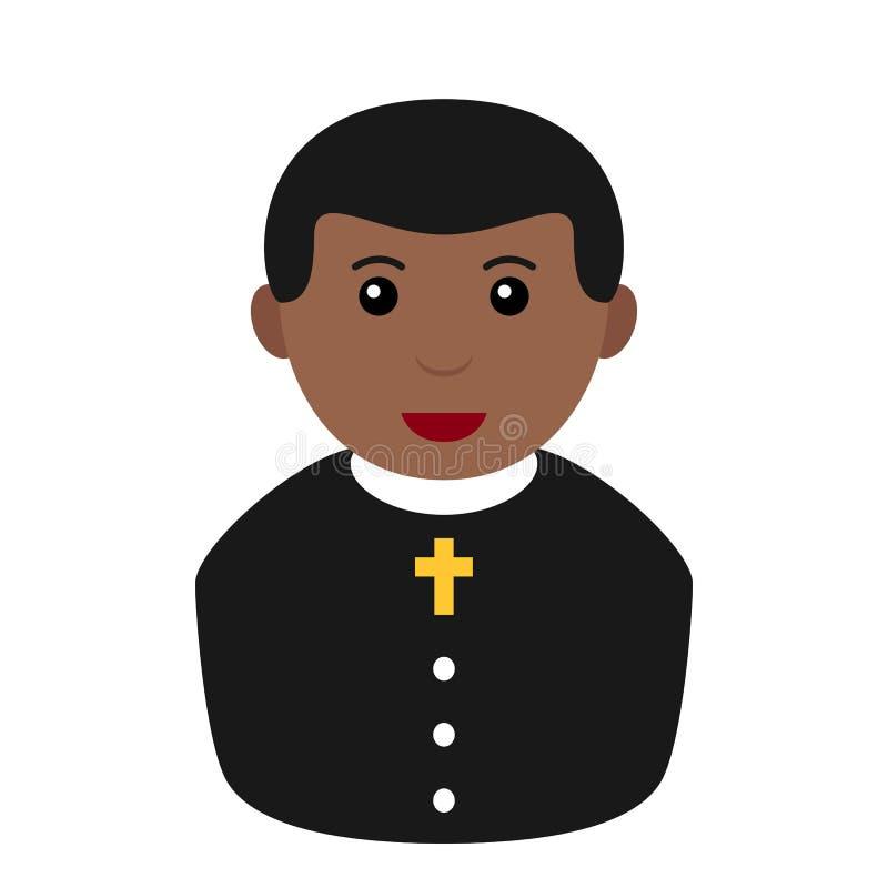 Zwarte Priester Avatar Flat Icon op Wit vector illustratie