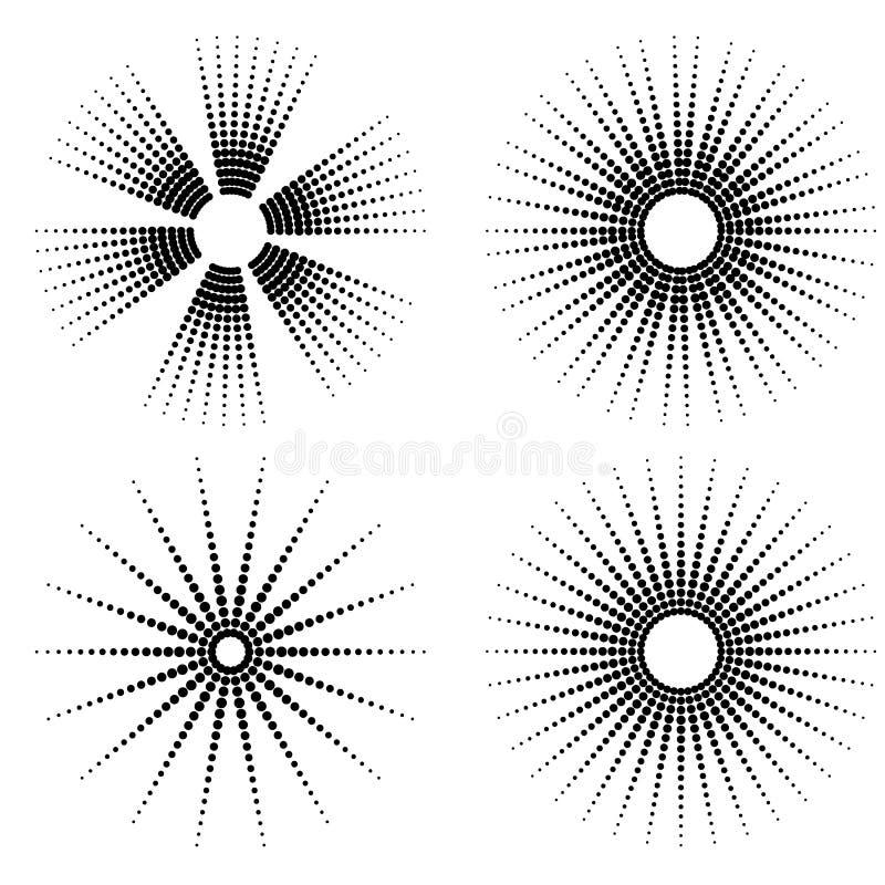 Zwarte punten op witte achtergrond Zwart-witte Zonnestraalachtergrond Samenvatting gestippelde achtergrond vector illustratie