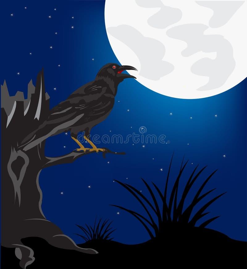 Zwarte raaf op boom in de nacht royalty-vrije illustratie