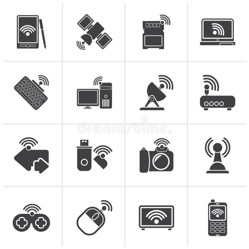 Zwarte Radio en communicatie pictogrammen royalty-vrije illustratie