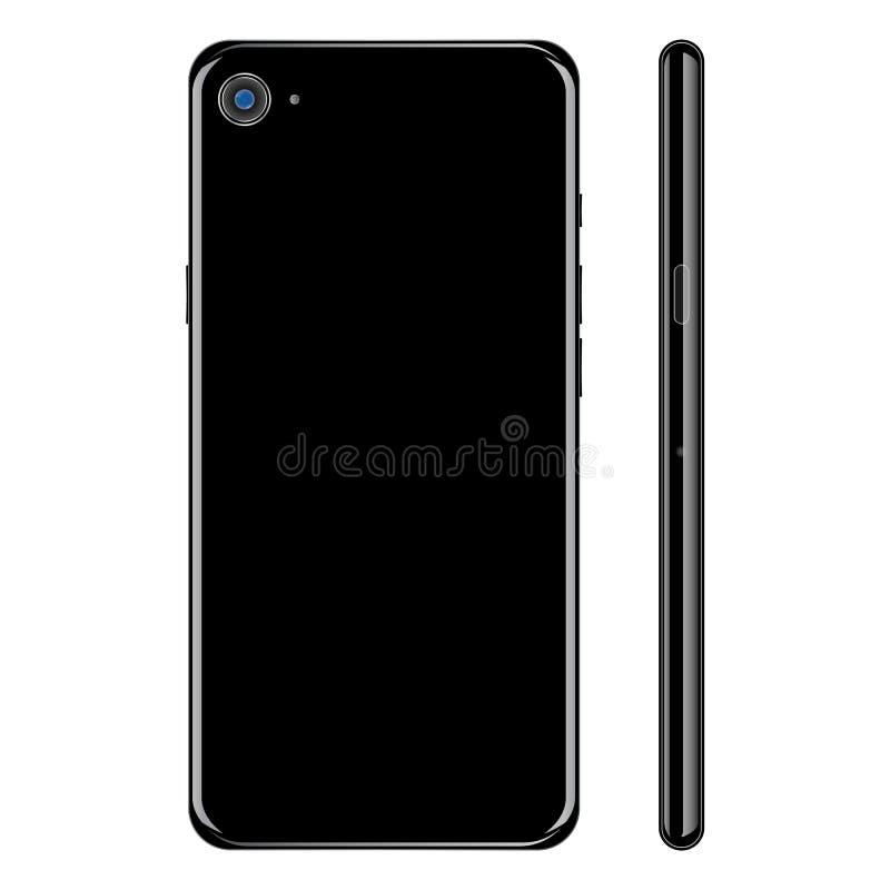Zwarte realistische glanzende smartphone, achter en zijaanzicht over witte achtergrond De zwarte kleur van Smartphone, achter en  stock illustratie