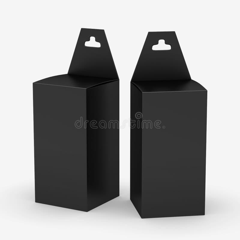 Zwarte rechthoekdocument vakje verpakking met hanger, het knippen weg i royalty-vrije illustratie