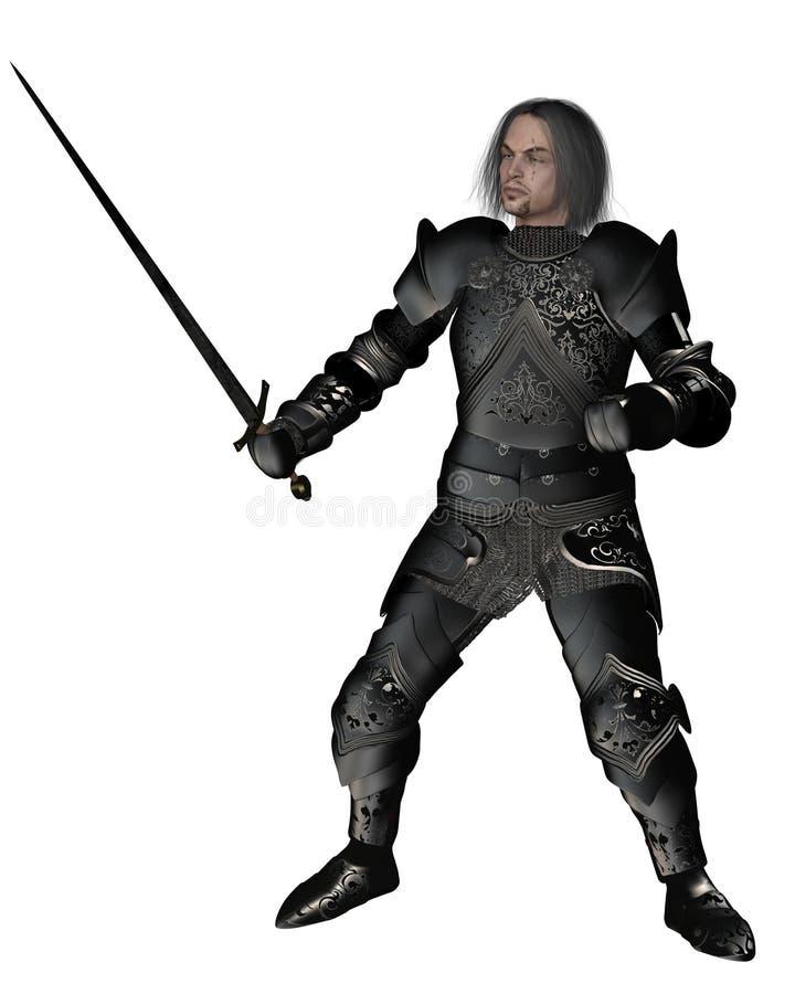 Zwarte Ridder in Verfraaid Pantser royalty-vrije illustratie
