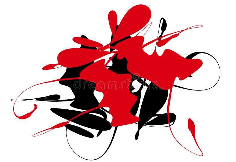 Zwarte Rode Abstracte Inkt   royalty-vrije illustratie