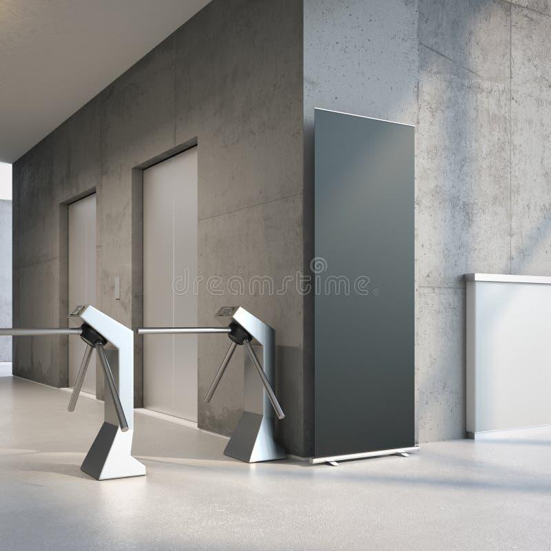 Zwarte rollupbanner bij de ingang van de bureaubouw het 3d teruggeven royalty-vrije stock afbeeldingen