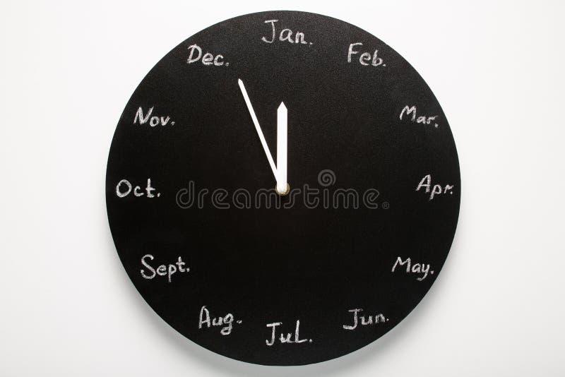 Zwarte ronde klokkalender 12 maanden royalty-vrije stock foto