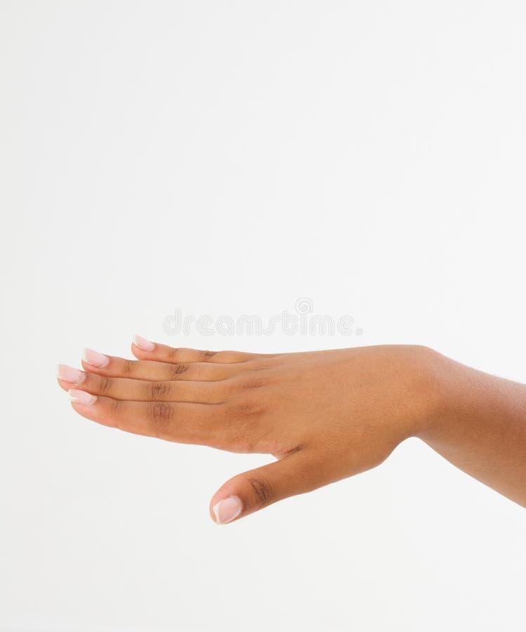 Zwarte` s hand met neer palm handbreadth op een witte achtergrond wordt geïsoleerd die Front View Spot omhoog De ruimte van het e stock afbeelding