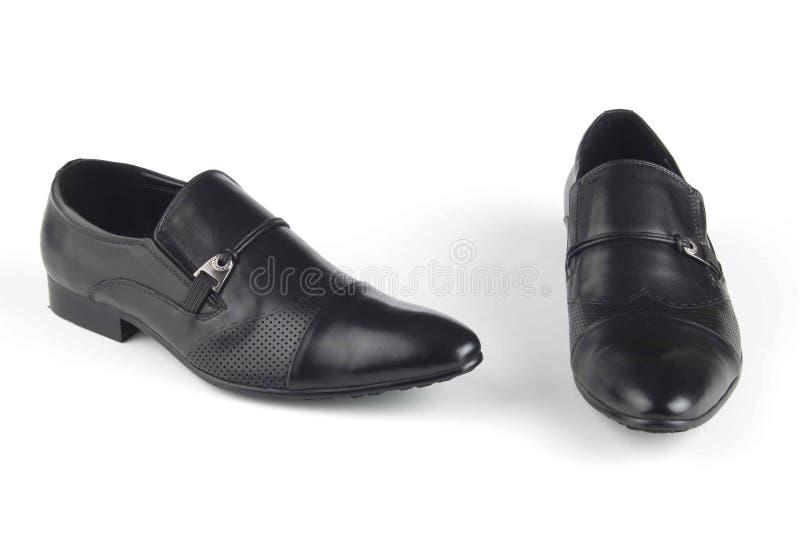 Zwarte sandals van het kleurenleer royalty-vrije stock foto