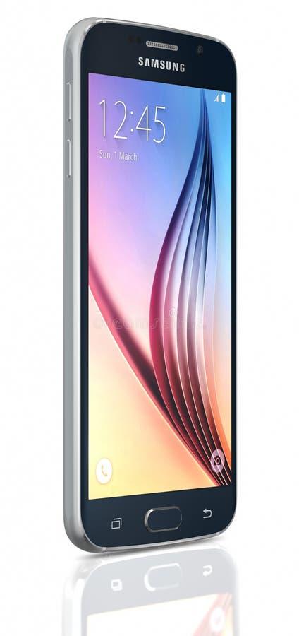 Zwarte Sapphire Samsung Galaxy S6 royalty-vrije stock foto