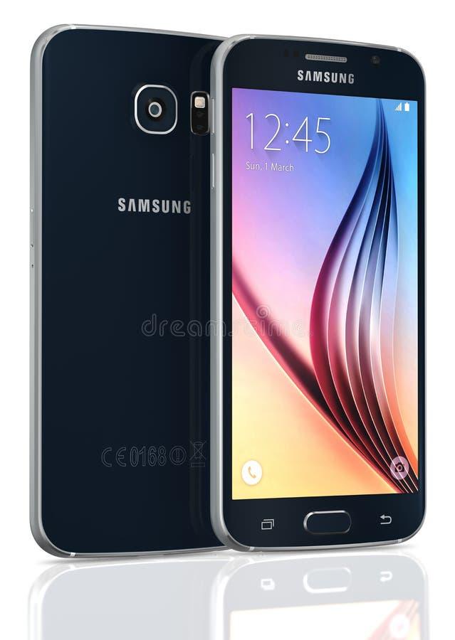 Zwarte Sapphire Samsung Galaxy S6 stock illustratie