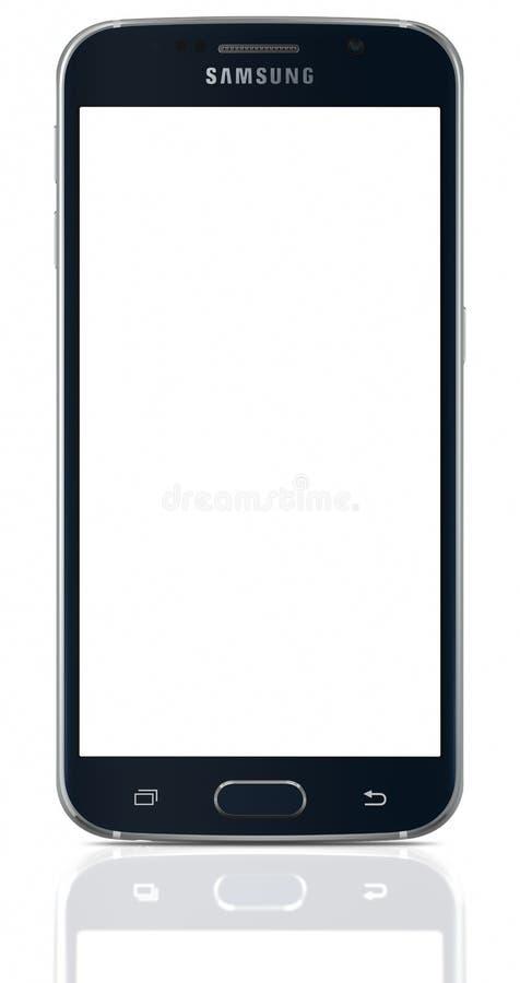 Zwarte Sapphire Samsung Galaxy S6 met het lege scherm royalty-vrije stock afbeelding