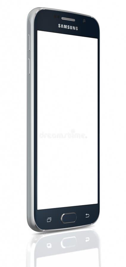 Zwarte Sapphire Samsung Galaxy S6 met het lege scherm royalty-vrije stock foto's