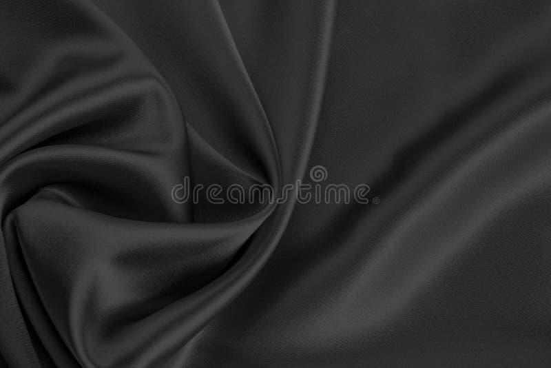 Zwarte satijn of zijdestof stock fotografie