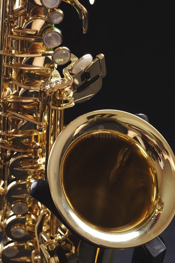 Zwarte saxofoon royalty-vrije stock foto's