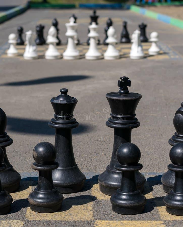 Zwarte schaakreeks die zich op asfaltweg bevinden stock foto