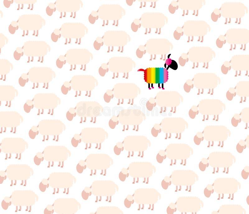 Zwarte schapen Vrolijk Pride Rainbow Colors stock illustratie