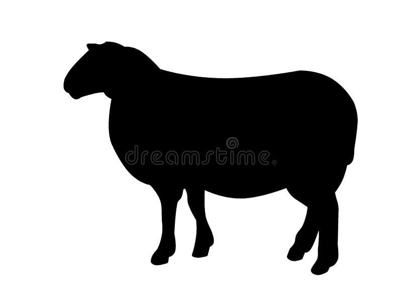 Zwarte schapensilhouet stock illustratie